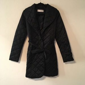 Tahari quilted black coat